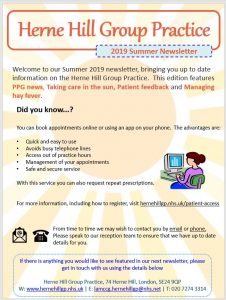 Summer News Letter For Herne Hill Group Practice